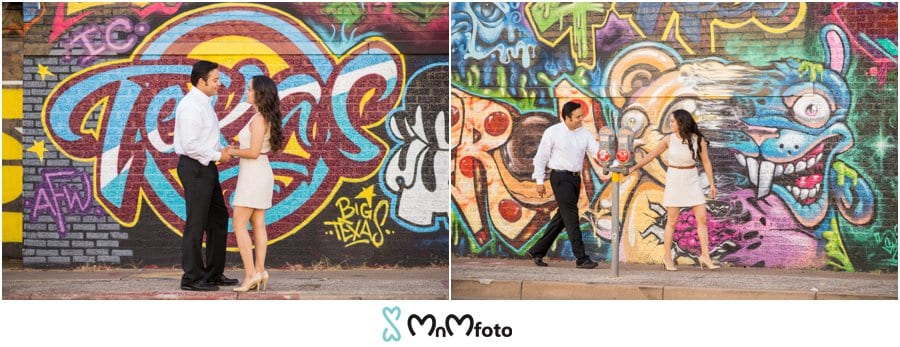 Musical murals and sculptural backdrops as our prime photo shoot location enjoy the couples romantic engagement session photo shoot in dallas texas