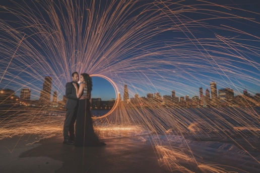 light painting at engagement shoot with steel wool in chicago